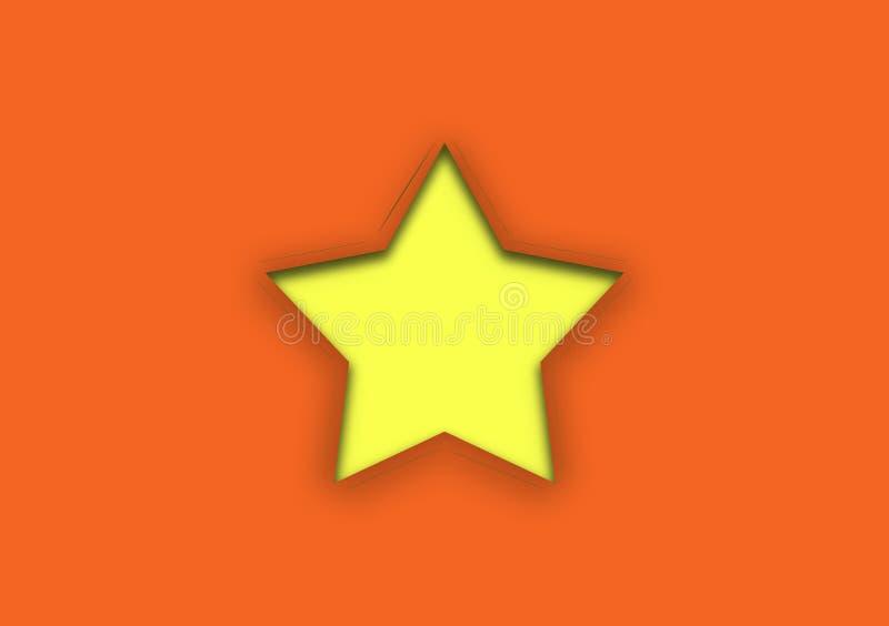 Gele die ster door oranje achtergrond wordt gesneden royalty-vrije illustratie