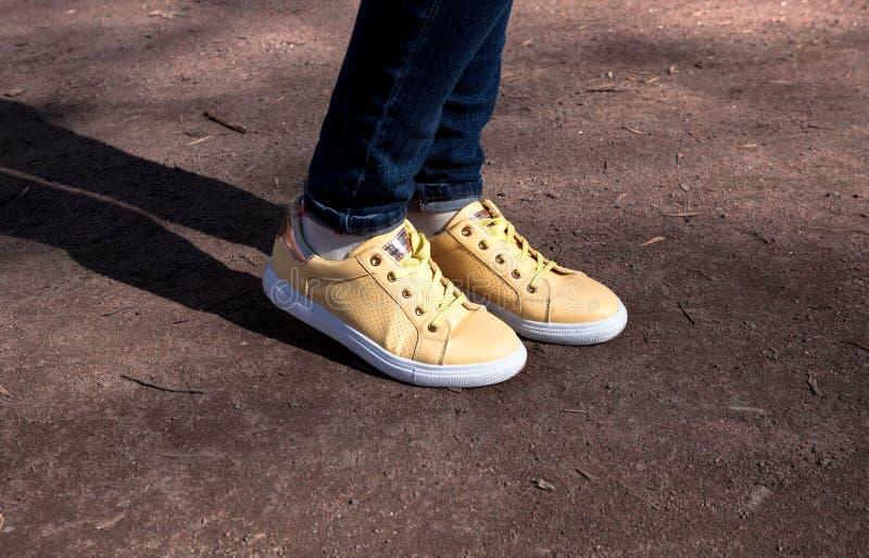 Gele die tennisschoenen met madeliefjes in het park worden verfraaid stock fotografie
