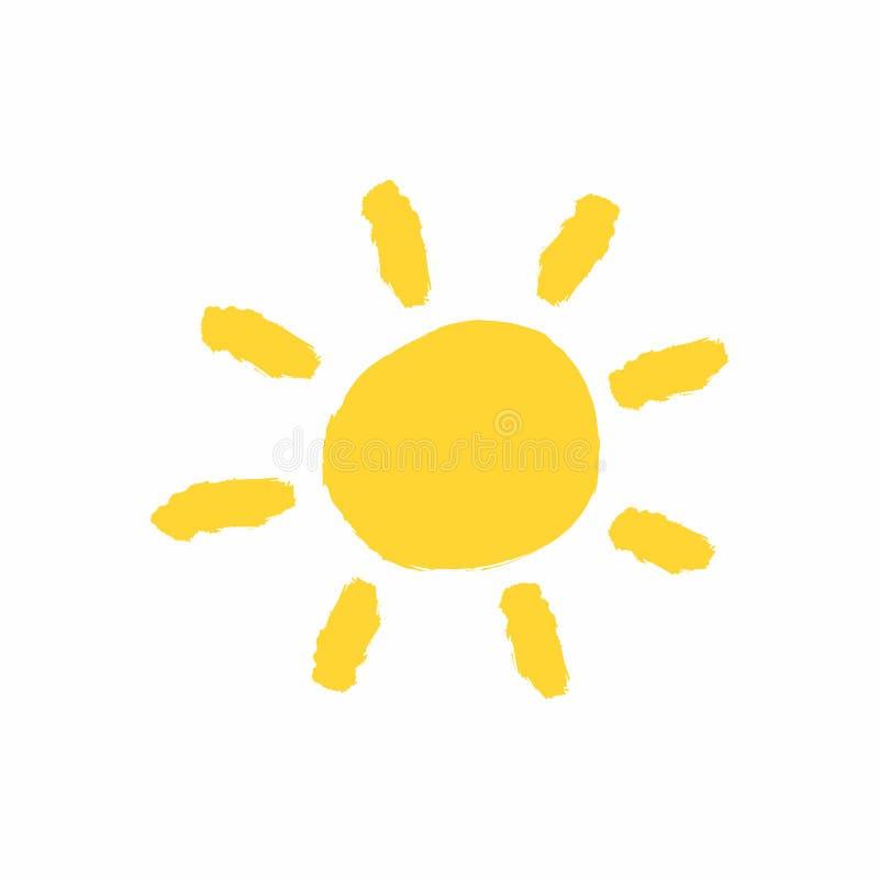 Gele die zon met de hand met waterverfborstel wordt getrokken Grungepictogram, embleem, symbool Schets, verf, graffiti vector illustratie