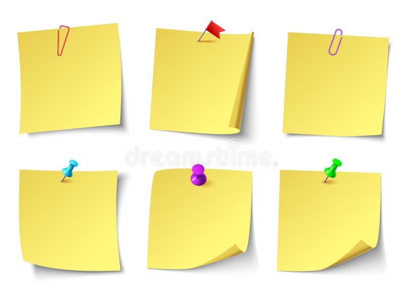Gele document nota's Hoogste de sticker vectorreeks van de meningsnota vector illustratie