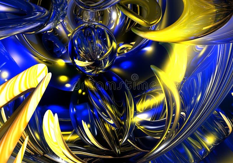 Gele draden in blauw licht 01 stock illustratie