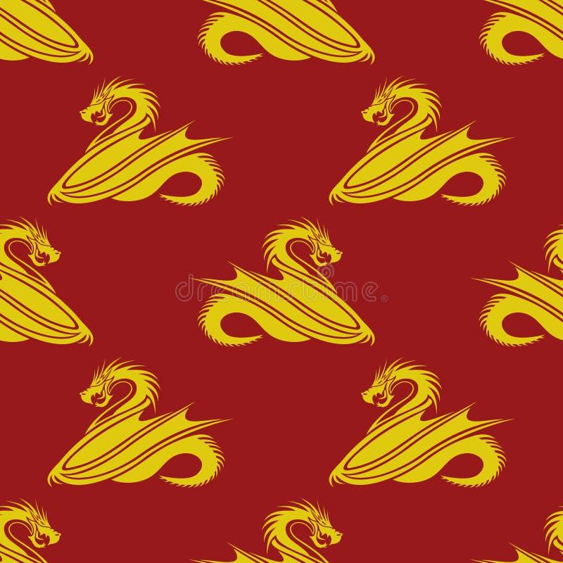 Gele draken op een rode achtergrond royalty-vrije illustratie