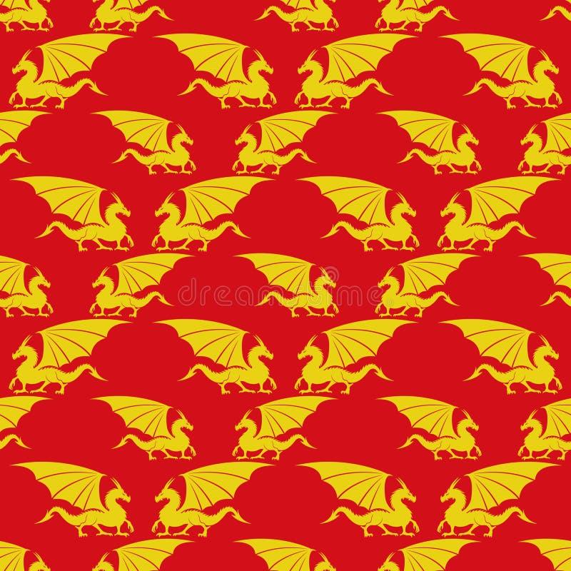 Gele draken op een rode achtergrond stock illustratie