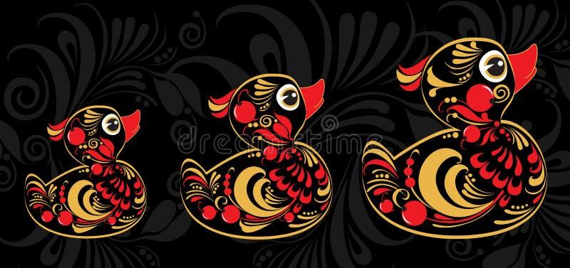 Gele eend in Hohloma-stijl stock illustratie