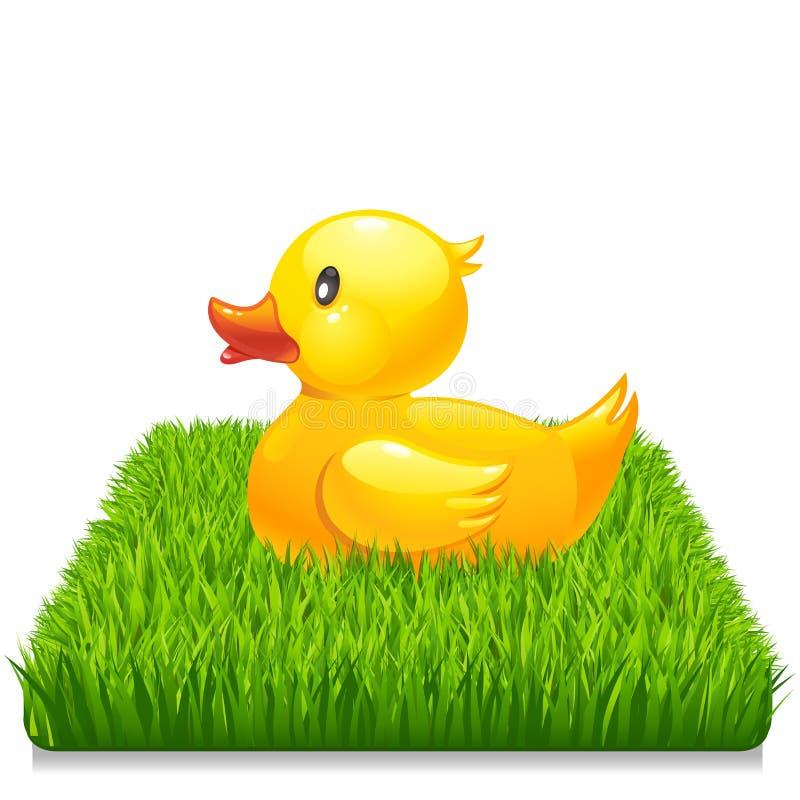 Gele eend op vers groen gras 10eps royalty-vrije illustratie