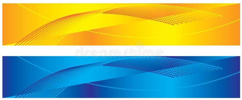 Gele en blauwe abstracte banners vector illustratie