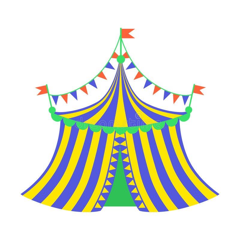 Gele en Blauwe Circustent, een Deel van Pretpark en Eerlijke Reeks Vlakke Beeldverhaalillustraties royalty-vrije illustratie