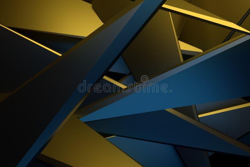 Gele en blauwe kleuren abstracte 3d teruggevende technologie backgroun vector illustratie