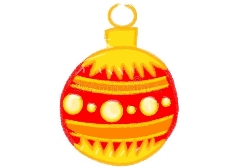 Gele en Donkerrode Kerstmisbal royalty-vrije stock fotografie