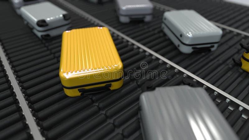 Gele en grijze koffersbeweging op de transportband het 3d teruggeven stock illustratie