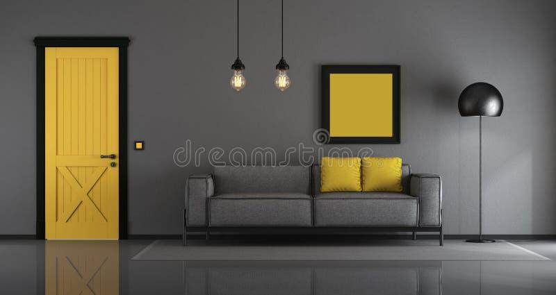 Gele en grijze minimalistische woonkamer royalty-vrije illustratie