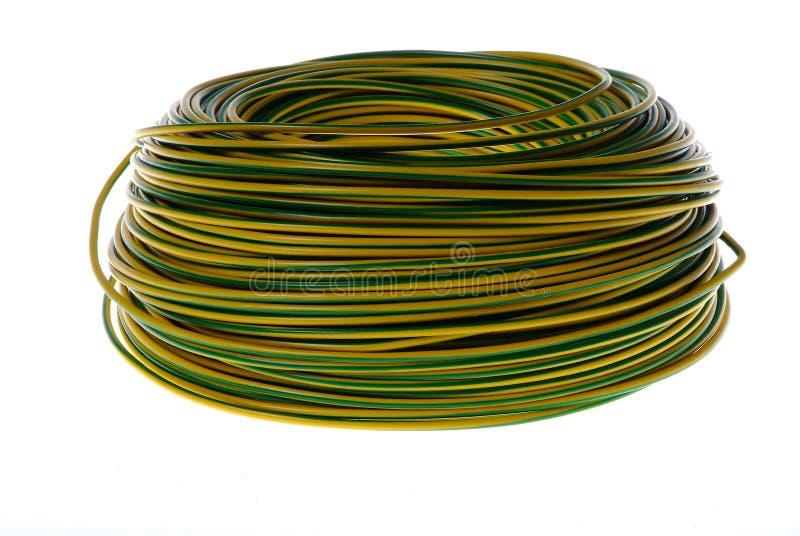 Gele en groene kabelspoel royalty-vrije stock afbeeldingen