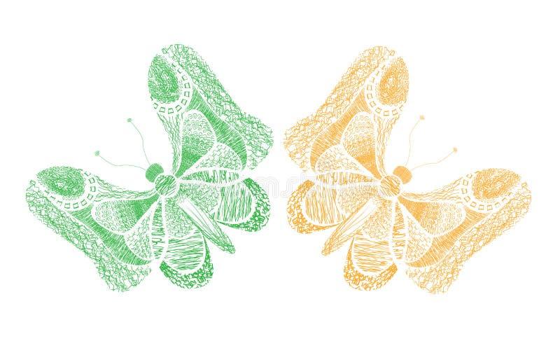 Gele en groene vlinders op een witte achtergrond De zomer abstracte illustratie Abstracte vlinder royalty-vrije illustratie
