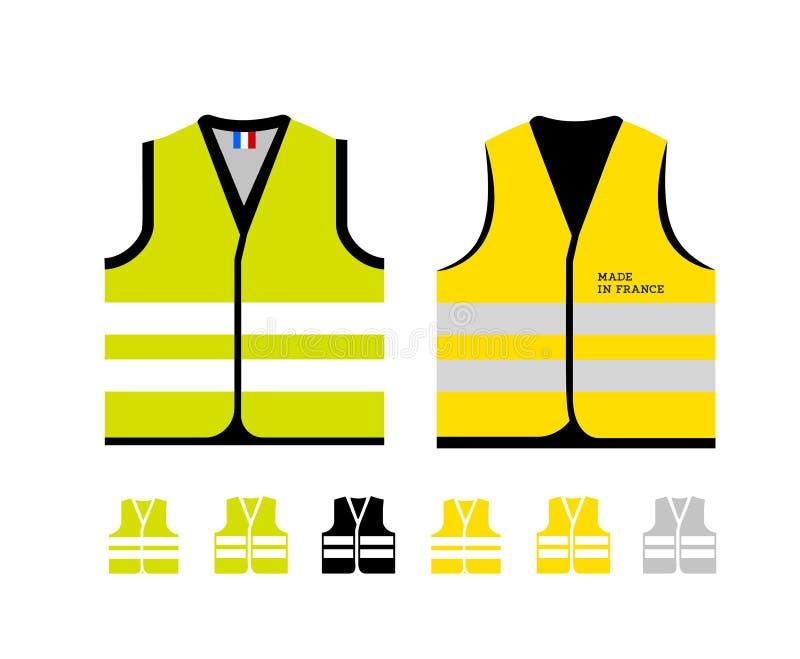 Gele en lichtgroene weerspiegelende vesten, als symbool van protesten in Frankrijk tegen toenemende brandstofprijzen Geel jasje stock illustratie