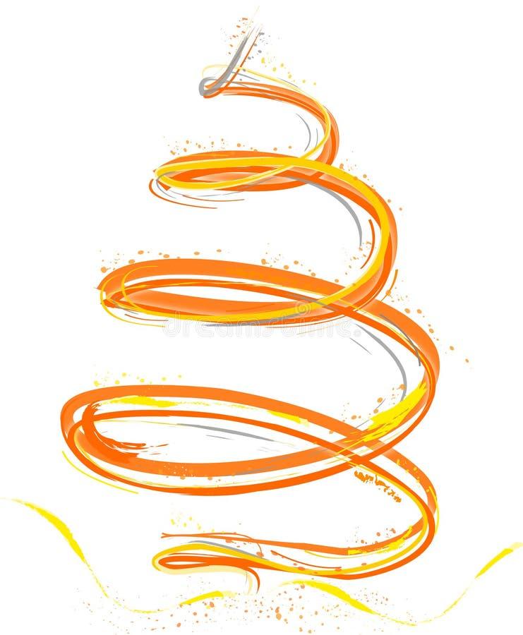 Gele en oranje Kerstmisboom stock illustratie