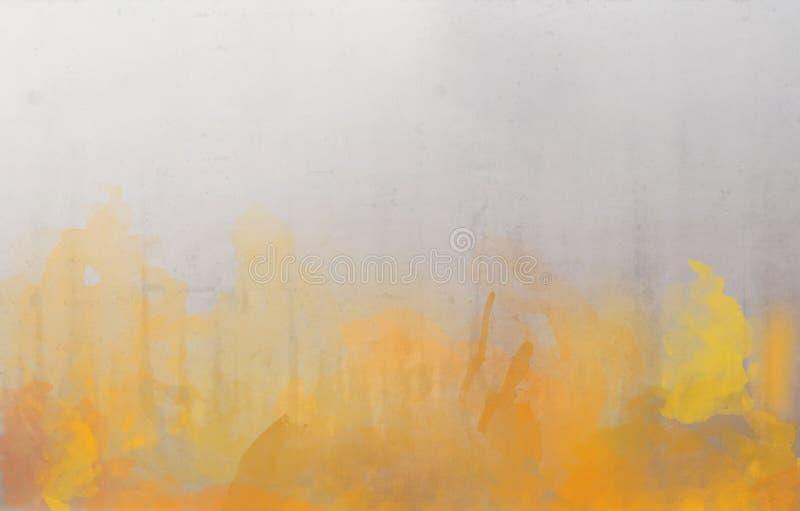 Gele en oranje waterverf abstracte achtergrond royalty-vrije stock afbeeldingen