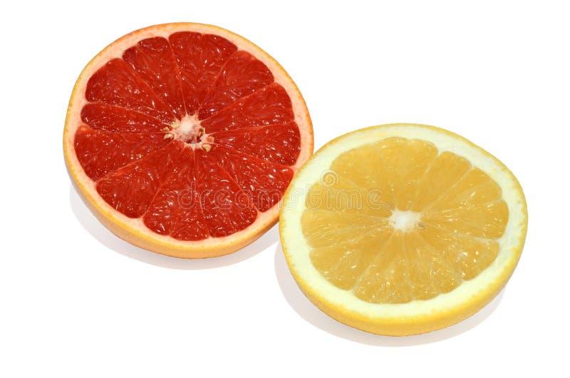 Gele en rode grapefruit royalty-vrije stock foto's