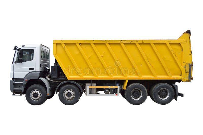 Gele en witte zware stortplaatsvrachtwagen stock fotografie