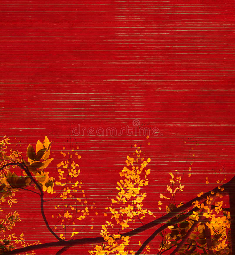 Gele en zwarte blosson op rode achtergrond royalty-vrije stock afbeeldingen