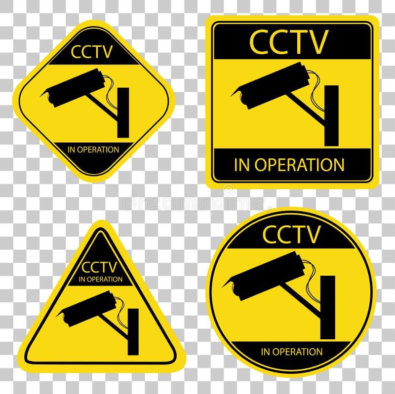 Gele en zwarte Reeks van kabeltelevisie-Teken vector illustratie