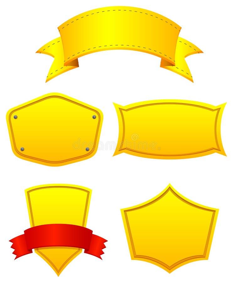 Gele etiketten stock illustratie