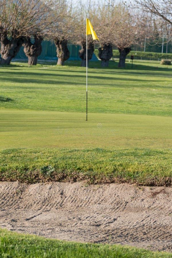 Gele flagstick in golfcursus in zonnige dag stock foto