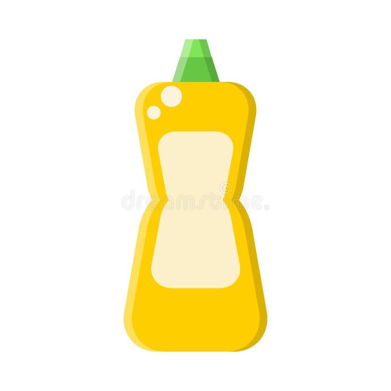 Gele fles met vloeibare reinigingsmachine in vlakke stijl op wit, voorraad vectorillustratie stock illustratie