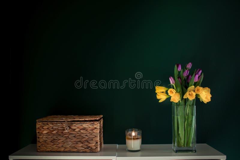Gele gele narcisbloemen met purpere tulp die in vaas met groene muur bloeien stock afbeeldingen