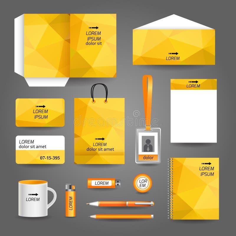 Gele geometrische technologie bedrijfskantoorbehoeften stock illustratie