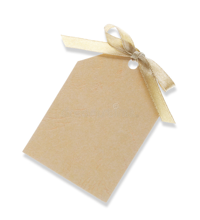 Gele giftmarkering die met lint (met het knippen van weg) wordt gebonden stock foto's