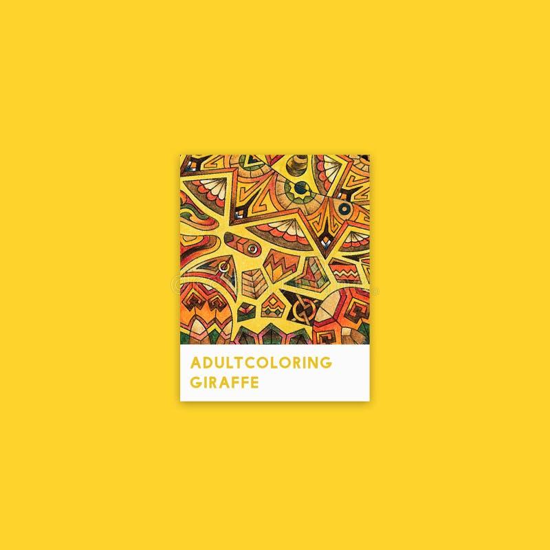 Gele giraf volwassen kleurende illustratie royalty-vrije illustratie