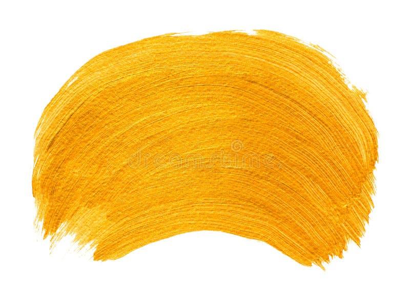 Gele gouden acrylpenseelstreek stock foto's