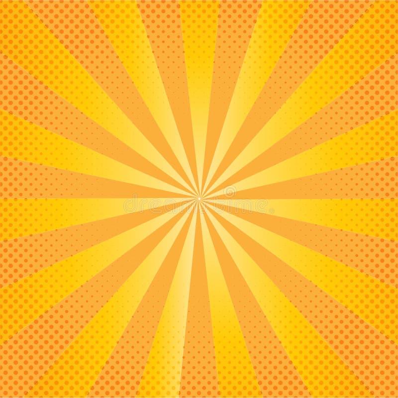 Gele Grappige Achtergrond met Gezoemeffect en Halftone Dots Pattern vector illustratie