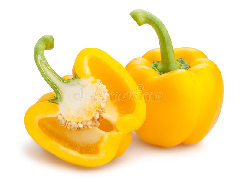 Gele Groene paprika royalty-vrije stock foto's