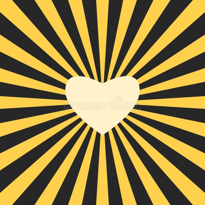 Gele hart gevormde zon in zwarte duisternis Liefde, het delen, warmte en eerlijkheidconcept Vlak Ontwerp Vectorillustratie, nr royalty-vrije illustratie