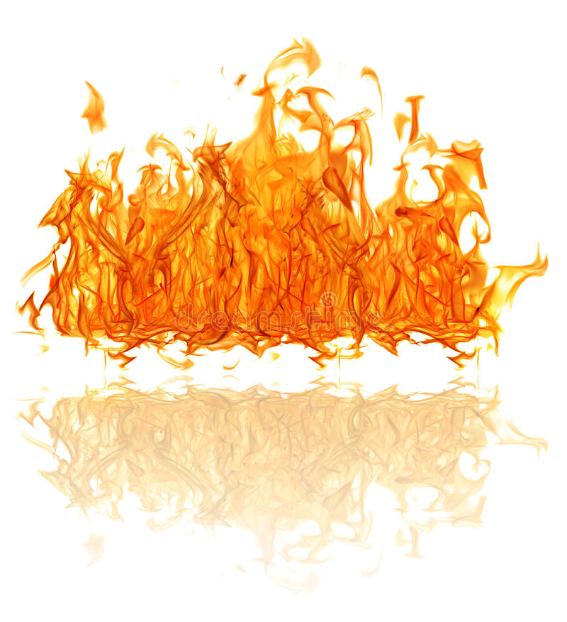 Gele heldere grote die brand met bezinning op wit wordt geïsoleerd stock fotografie