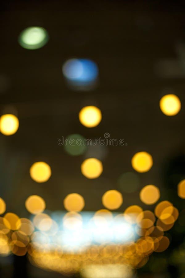 Gele heldere vage lichten, bokeh textuur royalty-vrije stock foto