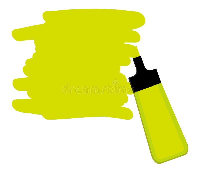 Gele highlighterpen met geel gebied voor het schrijven van een bericht royalty-vrije illustratie