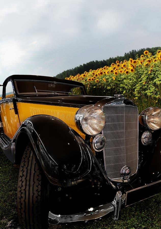 Gele historische auto op een gebiedsweg stock fotografie