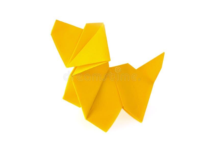 Gele hondorigami royalty-vrije stock afbeelding