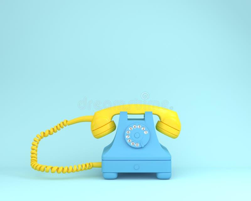 Gele hoofdtelefoon tegen blauwe retro telefoon op lichtblauwe colo stock foto