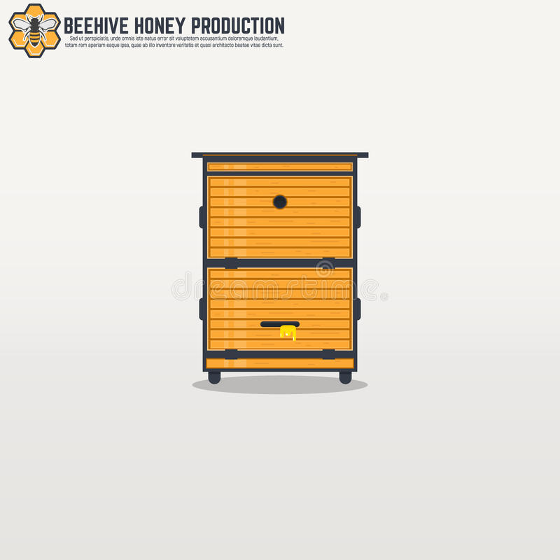 Gele houten moderne kaderbijenkorf stock illustratie