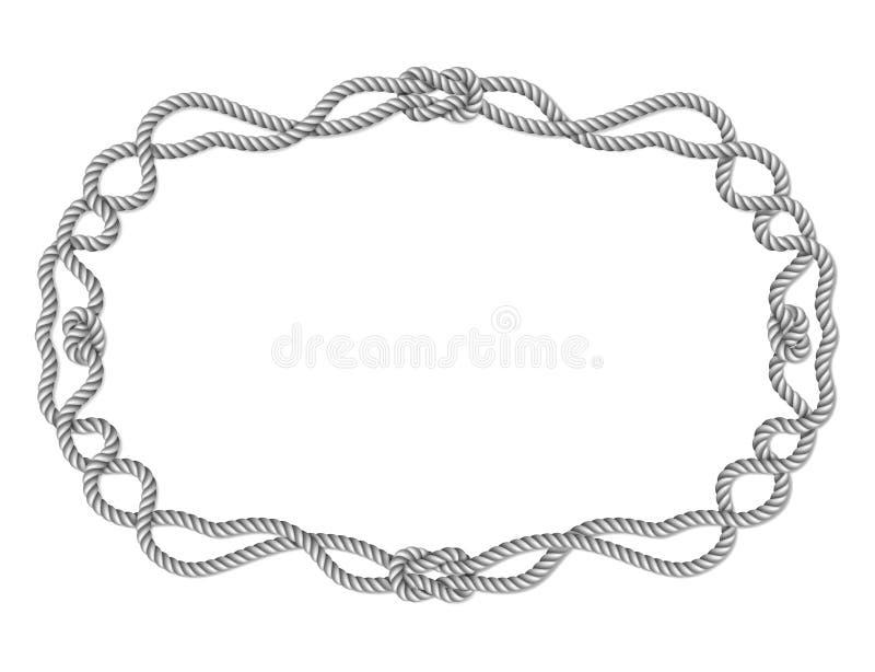 Gele kabel geweven horizontale grens met kabelknopen, horizontaal vectorkader, dat op wit wordt geïsoleerd royalty-vrije illustratie