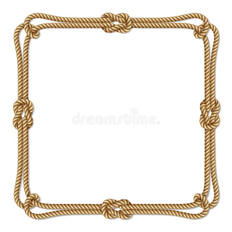 Gele kabel geweven vectorgrens met kabelknopen, vierkant vectorkader royalty-vrije illustratie
