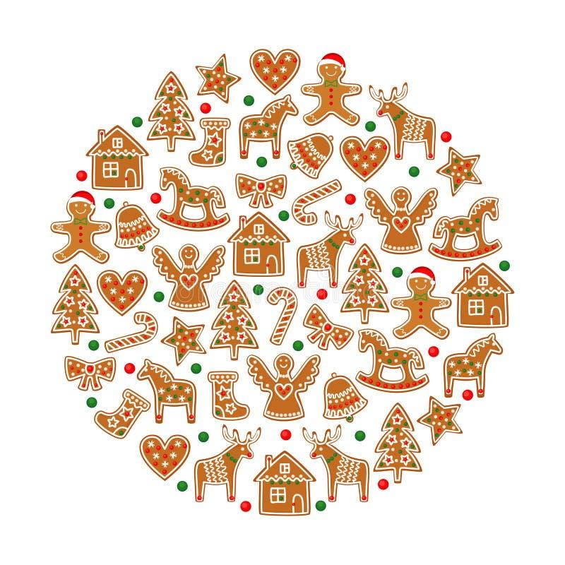 Gele kegels op witte achtergrond De inzameling van Kerstmiskoekjes - de cijfers van peperkoekkoekjes vector illustratie