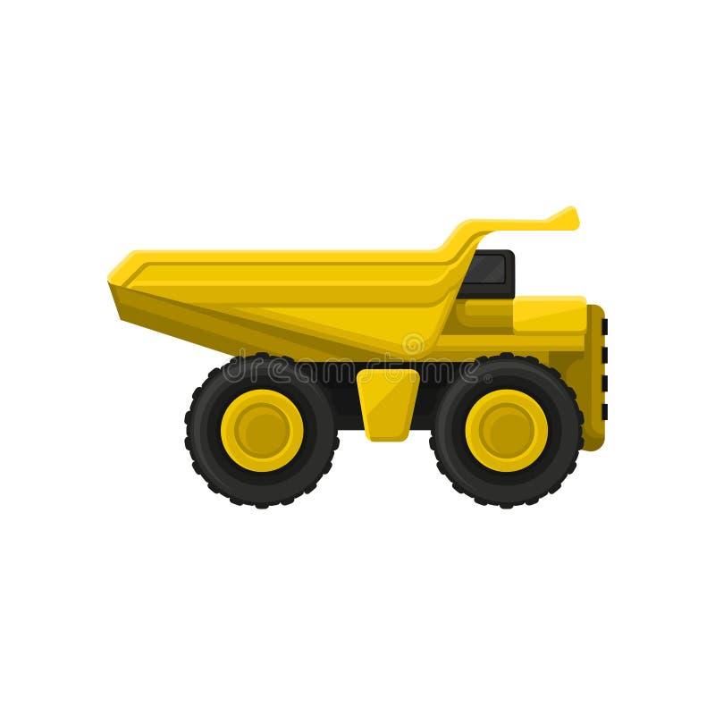 Gele kippers grote wielen Vlak vectorpictogram van kipwagenvrachtwagen met hydraulisch tippend lichaam Zware machine die binnen g vector illustratie
