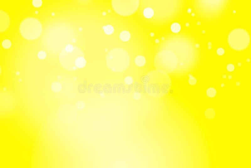 Gele kleurenachtergrond met bokeh stock afbeelding