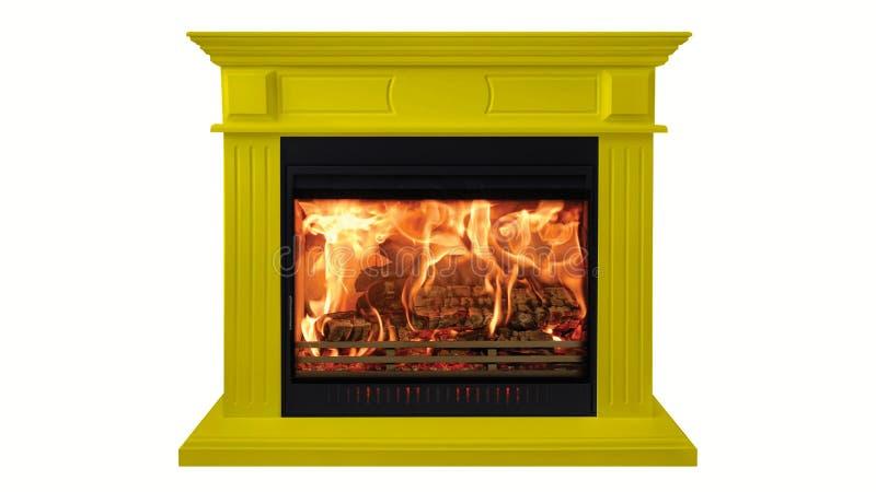 Gele kleurrijke brandende klassieke die open haard op witte achtergrond wordt geïsoleerd royalty-vrije stock afbeelding