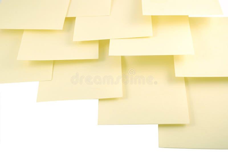 Gele kleverige nota's royalty-vrije stock foto's