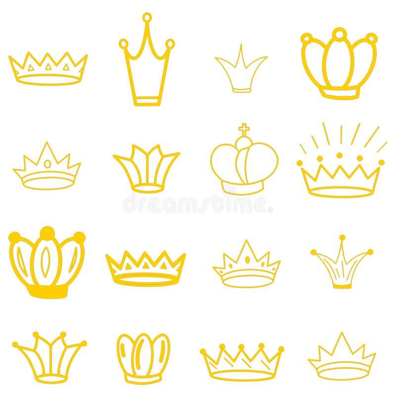 Gele Kronen tiara diadem Schetskroon Hand getrokken koningintiara, koningskroon Koninklijke keizerkroningssymbolen stock illustratie